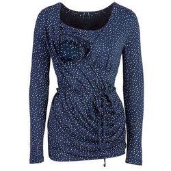 Shirt ciążowy i do karmienia, rękawy 3/4 bonprix ciemnoniebiesko-biały w kropki