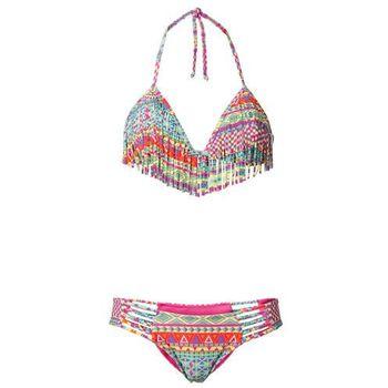 370bcb01a4d4af Bikini z ramiączkami wiązanymi na szyi i frędzlami (2 części) bonprix  kolorowy