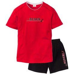 Piżama bonprix czerwono-czarny