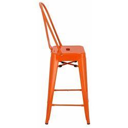Stołek barowy Paris Back pomarańczowy inspirowany Tolix