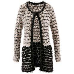 Sweter rozpinany z przędzy z długim włosem bonprix beżowoszaro-czarny