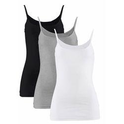 Top na wąskich ramiączkach (3 szt.) bonprix biały + czarny + jasnoszary melanż