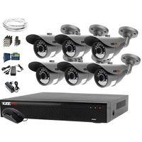Zestawy monitoringowe, Monitoring domu jednorodzinnego zestaw: Rejestrator LV-XVR84N, 6x Kamera LV-AL20MT, akcesoria