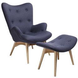 Fotel CONTOUR z podnóżkiem - szary, tkanina, nogi jesion