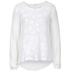 Prześwitująca bluzka koronkowa bonprix biały
