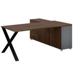 Biurowy stół roboczy ALFA X z szafką po lewej, blat 1800 x 800 mm, wzór orzech