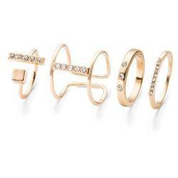Komplet pierścionków ze sztrasami (4 części) bonprix kolor czerwonego złota