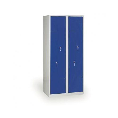 Szafki do przebieralni, Spawana Szafka ubraniowa Z, korpus szary, drzwi niebieske zamek cylindryczny