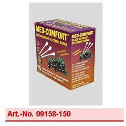 Art. nr 09158-150 MED-COMFORT - 150 mm Patyczki higieniczne do czyszczenia jamy ustnej o smaku czarnej porzeczki - (1 karton = 20 Boxen à 25 op. po 3 sztuki) rabat 75%