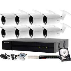 Profesjonalny monitoring sklepu, magazynu, parkingu Hikvision Hiwatch Rejestrator IP HWN-4108MH + 8x Kamera FullHD HWI-B640H-Z + Akcesoria