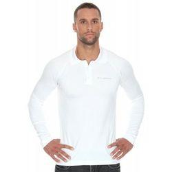 Koszulka męska polo Brubeck Prestige z długim rękawem LS10620 Biały