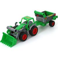 """Traktory dla dzieci, Polesie 8718 """"Farmer-technik"""" traktor ładowarka z naczepą w siatce (8718 POLESIE)"""