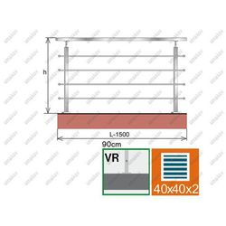 Balustrada nierdzewna AISI304, 40x40x2/4xd12/H900/