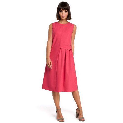 Suknie i sukienki, Różowa Luźna Letnia Sukienka Midi z Marszczeniami na Boku