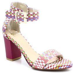 TYMOTEO 2661/2 SZACHOWNICA - Wygodne sandały - Multikolor ||Różowy WYPRZEDAŻ -35% (-35%)