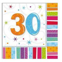 Pozostałe wyposażenie domu, Serwetki urodzinowe na trzydzieste urodziny - 30tka - 33 x 33 cm - 16 szt.