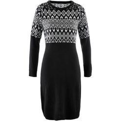Sukienka dzianinowa bonprix czarno-biel wełny wzorzysty