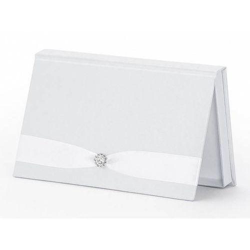 Pozostałe na ślub i wesele, Pudełko na pieniądze białe ze srebrną aplikacją - 1 szt.