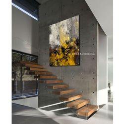 Musztardowo mglista abstrakcja obrazy do salonu nowoczesnego rabat 10%