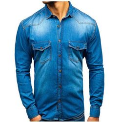 Koszula męska jeansowa z długim rękawem niebieska Denley 1331