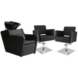 Zestaw Mebli Fryzjerskich - Myjnia Perfect + 2 Fotele Premium Kwadrat