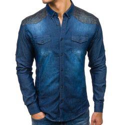Koszula męska jeansowa we wzory z długim rękawem granatowa Denley 0517