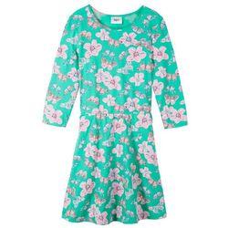 Sukienka dziewczęca shirtowa z rękawami 3/4 bonprix zielony morski z nadrukiem