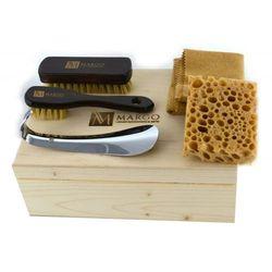 Margo MGS2-1, firmowy 5-el. zestaw do pielęgnacji obuwia w drewnianym pudełku