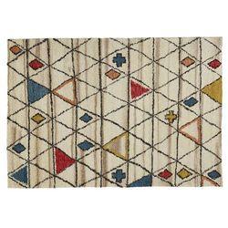 Dywan ANNAZ w berberyjskim stylu – 100% wełna – 160 × 230 cm – Wielokolorowy