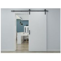 Zlicowane drzwi przesuwne varin – 205 × 83 cm (wys. × szer.) – mdf + pvc, kolor biały marki Vente-unique