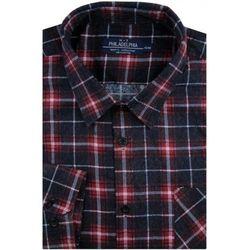 Koszula Męska Philadelphia flanelowa bordowa w kratę na długi rękaw w kroju Regular A257