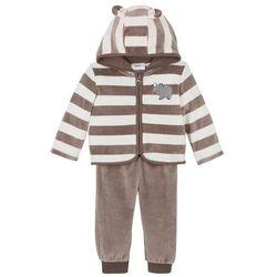 Bluza rozpinana i spodnie niemowlęce z dzianiny welurowej nicki (2 części) bonprix ecru-brunatny