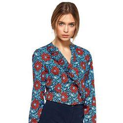 Bluzka z asymetrycznymi falbanami - kwiaty - B89