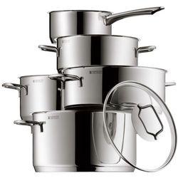 WMF 5-częściowy zestaw garnków Astoria do smażenia mięsa, rondel ze szklaną przykrywką, krawędź do wylewania Cromargan, nierdzewna stal szlachetna, polerowane, do kuchenek indukcyjnych, nadaje się do mycia w zmywarce