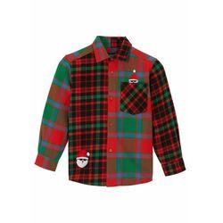 Koszula chłopięca z długim rękawem bonprix czerwono-zielony w kratę