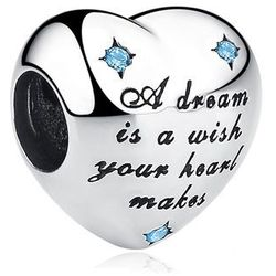 Rodowany srebrny charms do pandora serce marzyciel senny cyrkonie srebro 925 QS0324