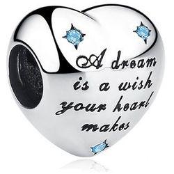 Rodowany srebrny charms pandora serce marzyciel senny cyrkonie srebro 925 QS0324