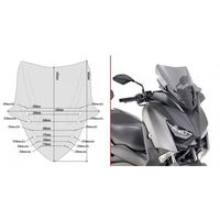 Pozostałe akcesoria do motocykli, GIVI D2136S SZYBA SZYBA DYMIONA 43,5x43,5cm YAMAHA X-Max 300