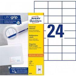 Trwałe etykiety uniwersalne Avery Zweckform A4 100ark./op. 70x37mm białe