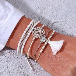 Bransoleta ZESTAW CHWOST koraliki białe BOHO - WHITE