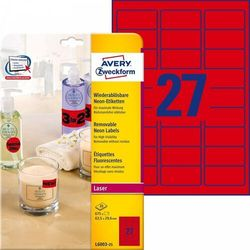 Usuwalne etykiety neonowe Avery Zweckform A4 25ark./op. 63,5x29,6mm czerwone neonowe