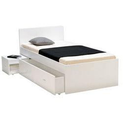Łóżko ze stolikiem nocnym i szufladą PACOME - 90 × 190 cm - Lakierowane na biało
