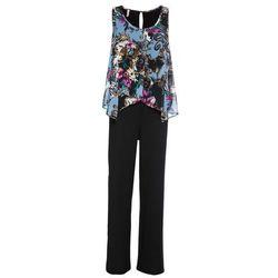 Kombinezon z bluzką bonprix czarno-niebiesko-różowy w kwiaty