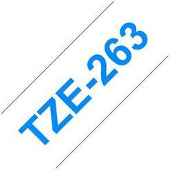 Brother taśma do drukarek etykiet, TZE-263, niebieski druk/biały podkład, laminowane, 8m, 36mm