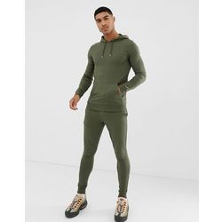 ASOS DESIGN tracksuit extreme super skinny jogger / muscle hoodie in khaki - Green