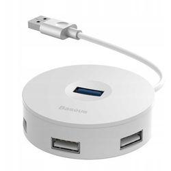 Baseus Round Box | HUB adapter rozdzielacz USB 3.0 do 3x USB 2.0 + Micro USB | biały