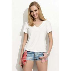 """Biały T-shirt z Dekoltem """"V"""" z Krótkim Rękawem"""