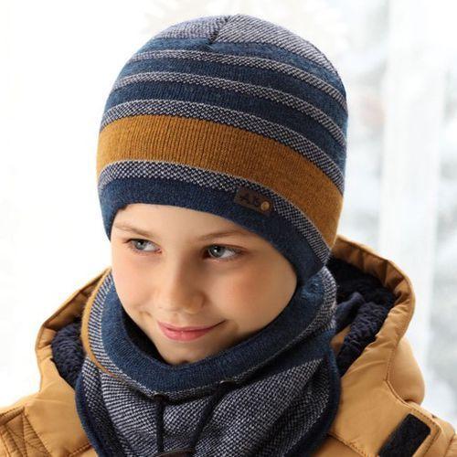 Zestawy dodatków dla dzieci, Ciepły komplet zimowy czapka + komin rozmiar 54-58