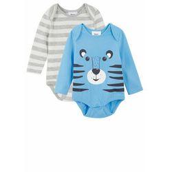 Body niemowlęce z długim rękawem (2 szt.), bawełna organiczna bonprix jasnoszary melanż - jasnoniebiesko-biel wełny