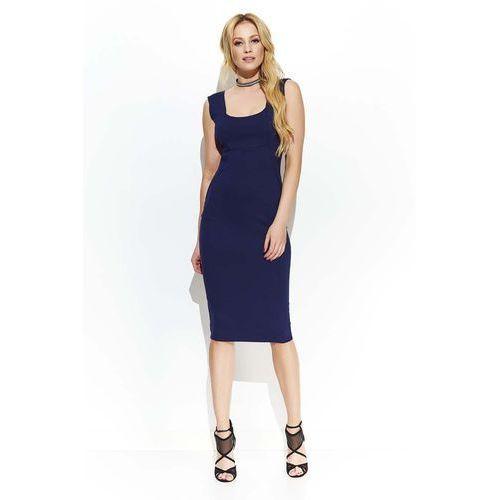 Suknie i sukienki, Granatowa Elegancka Ołówkowa Midi Sukienka z Przeszyciami